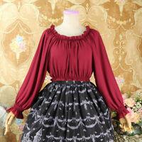 Lady Lolita Ruffles Chiffon Shirt Retro Pleated Top Puff Sleeve Blouse Elegant