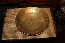 Antique Chinese Brass Metal Bowl-Engraved Dragons Symbols