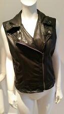 Michael Kors Leather Distressed Motorcycle Biker Vest Gilet Medium RRP £330 New