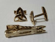 Vintage Gold Tone Cuff Links & Tie Clip Set Celtic Design
