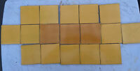 """14 Mexican 4 1/8"""" Yellow & 3 Mexican Pottery 4 1/4"""" Amber Terra-Cotta Tiles"""