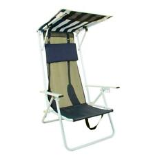 Folding Camping Beach Chair with Canopy Shade Portable Blue Outdoor Patio Hiking