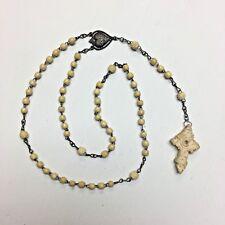 VTG Stanhope Rosary French Sacred Heart of Jesus Cross Carved Bovine Bone France