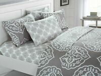 Chic Home Marquis 6 Piece Sheet w/ Pillowcases Set Medallion Print Grey
