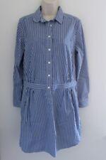 Banana Republic Button Down Shirt Dress Size 8 Blue White Stripes Long Sleeve