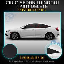 Fit 16-20 Honda Civic Sedan Window Trim Chrome Delete Blackout Kit - Matte Black
