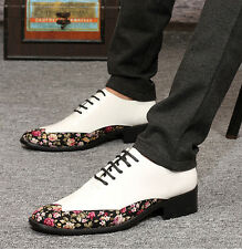 Men's Pointed Toe Formal Chunky Heels Lace Up Dress Lace Up Floral Printed Shoes