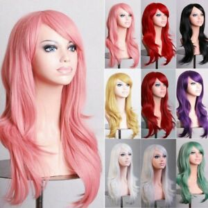 Women Long Hair Full Wig Natural Curly Wavy Straight Synthetic Hair Party