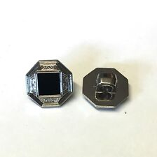 20 x 12mm hexagonal silver and black metallic plastic buttons with rear shank
