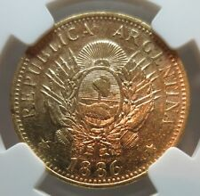 ARGENTINA GOLD 5 pesos Argentino1886 NGC AU 55 About UNC