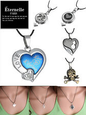Populor Couple's Stainless Steel 'Love Forever'Silver Pandent Nacklace A Set