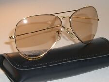 62MM VINTAGE B&L RAY BAN PHOTO BROWN ARISTA CHANGEABLES AVIATOR SUNGLASSES NEW