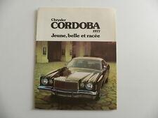 Brochure CHRYSLER 1977 CORDOBA jeune , belle et raçée
