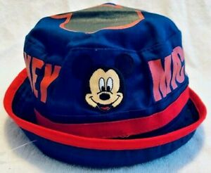 Mickey Mouse Bucket Hat Navy Blue/Red Nautical/Beach Disney Kid's One Size