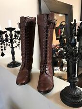 Carolina Herrera 39 Brown Leather Lace Up Flat Gold Hardware Boots