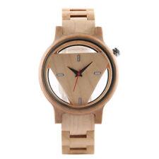 Unique Triangle Dial Wood Watch Men Women Bamboo Wooden Quartz Watches
