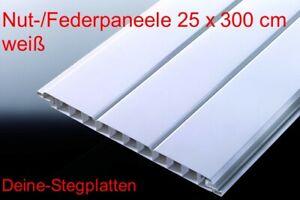 Profilbretter Nut- und Feder, Kunststoff, weiß, 25 cm x 300 cm