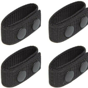 1pc Black Tactical Belt Keepers Dual Snap Closure Law Enforcement Police Duty