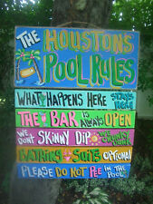 POOL RULES TROPICAL HOUSE BEACH TIKI HUT HAND MADE PERSONALIZED SIGN  PLAQUE