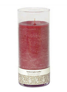 Northern Lights Candle Red Cinnamon Scented in Glass Pillar