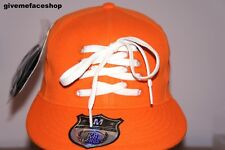 LACE ORANGE FLAT PEAK CAPS, FITTED HIP HOP HAT, BLING