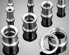 PAIR 2 GAUGE SCREW FIT STAINLESS STEEL EAR DOUBLE FLARE TUNNEL PLUG  EXPANDER