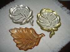 Set of 3 Vintage Leaf Shaped Nut Dishes Marigold Carnival Yellow Etched & Clear