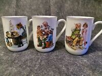 Vintage 1986 Norman Rockwell Museum Collection Set of 3 Coffee Cups Mugs