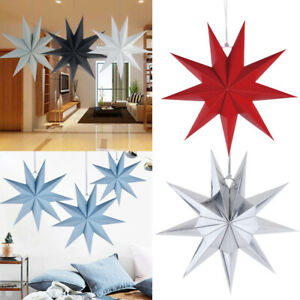 30CM Festival Nine-Pointed Stars Party Hanging Ornament DIY Party 3DF Paper Card