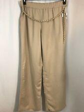 JM Collections Pants Womens Size 1X Beige Linen Blend Elastic Waist Gold Accents