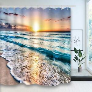 Ocean Beach Nautical Coastal Sunset Bathroom Fabric Shower Curtain Waterproof