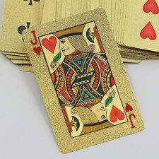 New High Grade 24K Gold Foil Game Poker Lattice Grid Pattern Playing Cards Witty