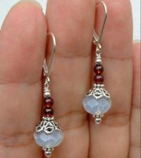 Beautiful Handmade Natural Moonstone & Garnet Gemstone Dangle/Drop Earrings