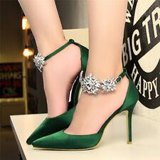 Women's Pointed Toe Rhinestone Pumps High Heel Stiletto Shoes Sexy Wedding Dress