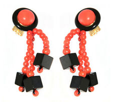 Extravagant Earrings Gold 750 with Coral and Onyx Earrings Top Design Ladies