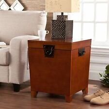 Hope Chest Storage Trunk Oak Wood Accent End Table Small Box For Quilts Blanket