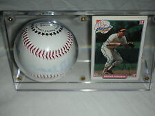 SIGNED BROOKS ROBINSON BASEBALL AND CARD, BOTH=PROOF, FADED, BALL & CARD HOLDER