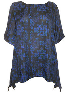 NEW EAONplus Dark Blue Scroll Print Waterfall Kaftan Tunic Sizes 18/20 to 30/32
