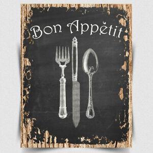 Bon Appetit METAL SIGN WALL PLAQUE vintage style kitchen cafe decor art print