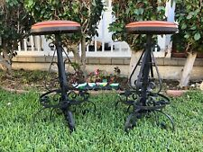 Vintage Pair Of Wrought Iron Bar Stools