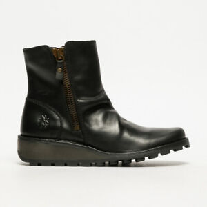 Fly London Mon black leather boots for women