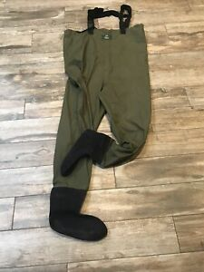 Orvis Chest High Fly Fishing Waders Size Large Foot Army Green RN3876 EUC