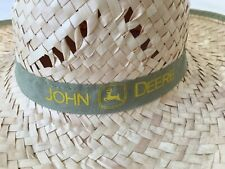 John Deere Straw Hat Tractor Farm Equipment Woven Cowboy VINTAGE Printed Band