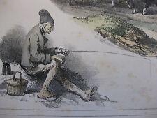 Lithographie ancienne originale H Bellangé costumes romantisme soldat pêcheur