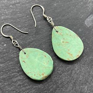 Artisan Earrings Green Amazonite Stones 925 Sterling Silver Drop Dangle