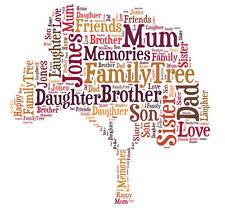 Personalised Family Tree Word Art Print Great Gift Mum Dad Nan Grandad Birthday