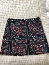 Printed Velvet Mini Skirt, Size 6