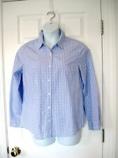 APPLESEED'S sz  12 BUTTON down L/S blouse shirt  FITTED LAVENDER PURPLE GINGHAM