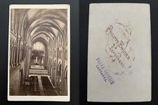 Bruder, Suisse, Lausanne, intérieur de la cathédrale Notre-Dame Vintage albumen