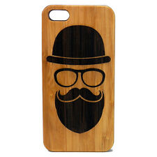 Hipster BAMBOO Case made for iPhone 5/5S&SE phones with Durable Wood Cover art